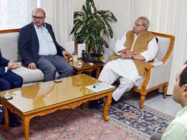 Governor Satya Pal Malik during a meeting with team of TATA Group at Raj Bhawan in Jammu on Saturday.