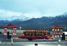 Beating the Retreat Ceremony being held at Hall of Fame, Leh on Sunday.