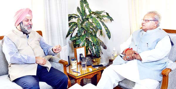 Governor Satya Pal Malik meeting with Manjeev Singh Puri, Indian Ambassador to Nepal on Tuesday.
