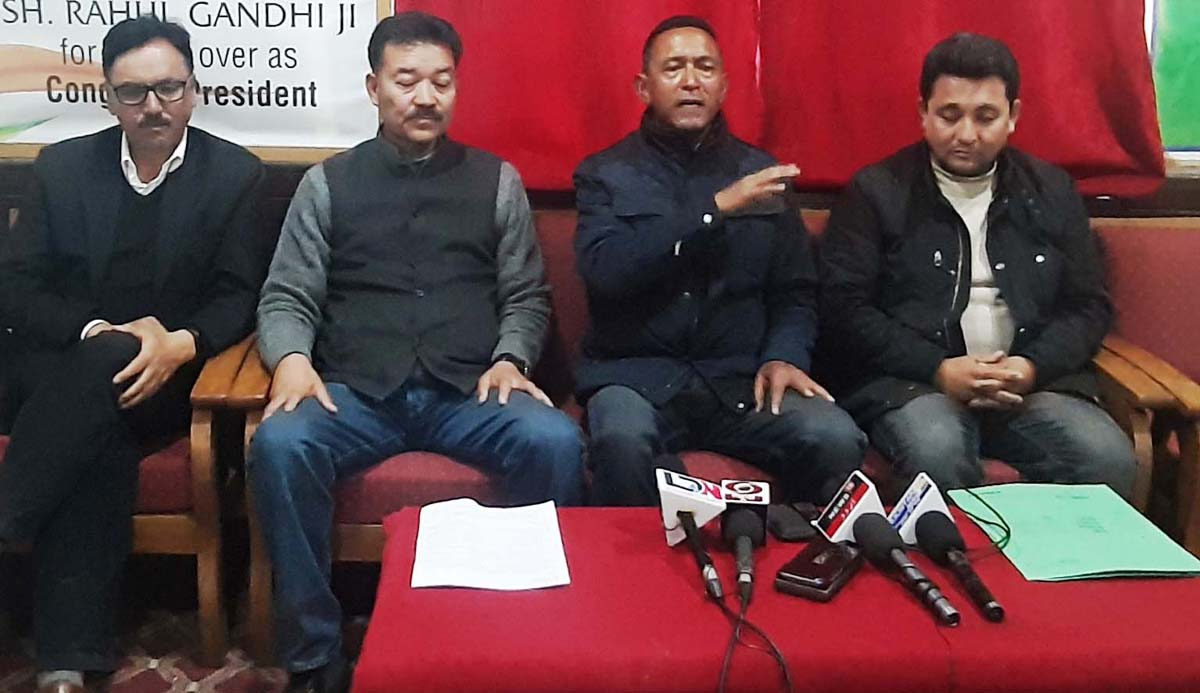 Senior Cong leader Nawanz Rigzin Jora, DCC Leh president Namgyal and Cong candidate Rigzin Spalbar at a press conference in Leh on Saturday. —Excelsior/ Morup Stanzin