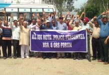 Retired cops protesting at Vijaypur on Saturday.