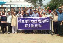 Retired cops protesting at Vijaypur on Saturday.
