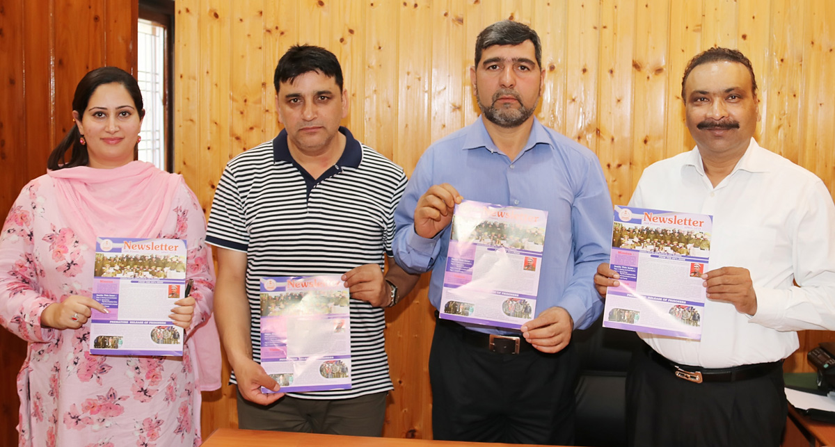 DGP Dilbag Singh along with other officers releasing Prisons Department's Newsletter on Saturday.