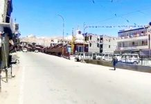 A view of complete bandh in Leh town on Tuesday. -Excelsior/Morup Stanzin