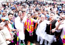 Union Minister Dr Jitendra Singh campaigning in far-flung areas of Gulabgarh and Gool-Arnas Assembly segments, on Monday. -Excelsior/Rakesh