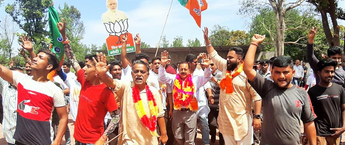 Union Minister Dr Jitendra Singh campaigning in Kathua district on Monday.