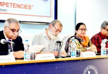 "Dignitaries during one day training programme on ""Management Competencies"" at IIPA, J&K Regional Branch on Saturday."