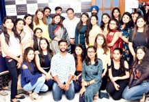 Guests and students of MG Institute of Fashion Technology after presenting the programme Yuva-2K19.