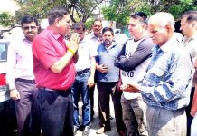 JMC Mayor interacting with shopkeepers at Municipal Market Parade, Jammu.