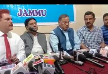 PSA leaders during a press conference at Jammu.