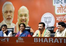 Actor Sunny Deol addressing a press conference after joining the Bharatiya Janata Party in presence of Defence Minister Nirmala Sitharaman and Railway Minister Piyush Goel, at BJP headquarters, in New Delhi on Tuesday. (UNI)