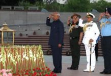 President Ram Nath Kovind along with three Services' Chiefs paying homage to the martyrs at National War Memorial, in New Delhion Monday. (UNI)