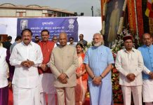President Ram Nah Kovind, Vice President M. Venkaiah Naidu, Prime Minister Narendra Modi, Minister for Social Justice and Empowerment Thaawar Chand Gehlot and other leaders poses for a photograph after paying tributes to baba saheb Dr. B R Ambedkar on his birth anniversary at Parliament House Lawns, in New Delhi on Sunday. (UNI)