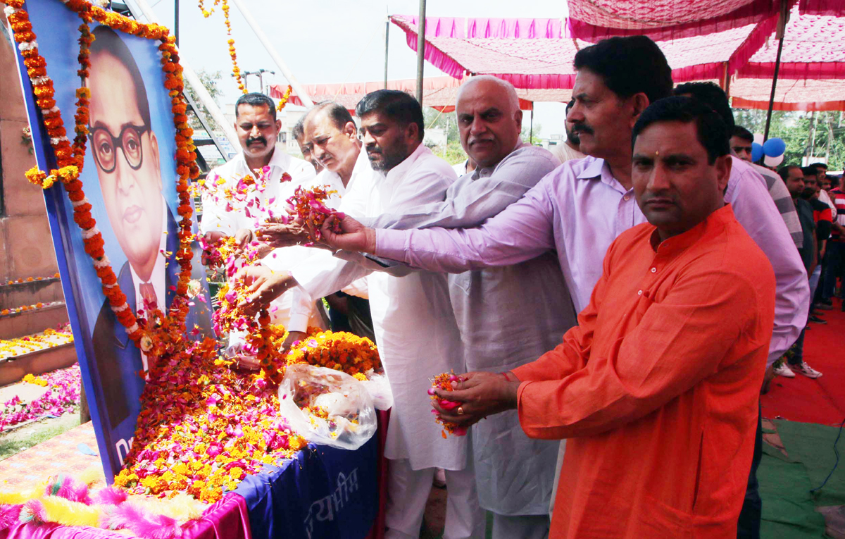 Floral tributes being paid to Dr. B R Ambedkar on his birth anniversary in Jammu.