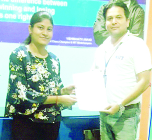 Rahul Sharma, CEO of the NIIT Jammu franchisee company handing over 'Appointment Letter' to a student.