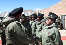 Lt Gen Ranbir Singh interacting with Soldiers in Eastern Ladakh on Tuesday.