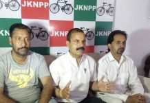 NPP president Balwant Singh Mankotia addressing a press conference at Udhampur on Tuesday.