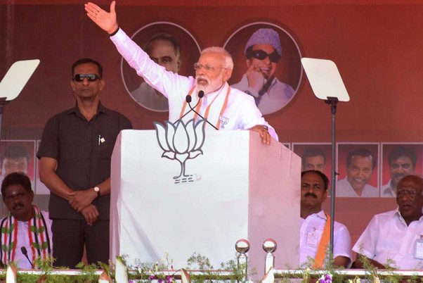 Prime Minister Narendra Modi addresses an election campaign rally for the Lok Sabha elections, in Andipatti on Saturday.