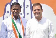 Congress President Rahul Gandhi welcoming BJP MP Udit Raj in to the Congress Party,in New Delhi on Wednesday. (UNI)