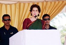 Congress General Secretary Priyanka Gandhi Vadra addressing an election campaign rally for Congress President and Wayanad Lok Sabha seat candidate Rahul Gandhi, at Mananthavady in Wayanad on Saturday. (UNI)
