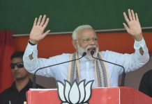 Prime Minister Narendra Modi addressing an election rally, ahead of the 5th phase of LOk Sabha p[olls in Muzaffarpur on Tuesday. (UNI)