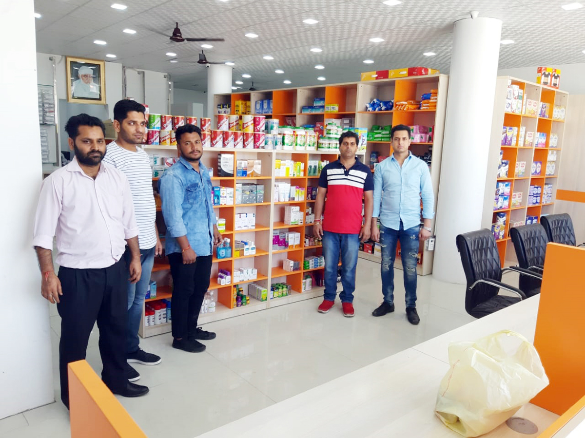 Medicines at display at cheaper rates in newly opened 'Dawa Khana' outlet at Rehari on Monday.