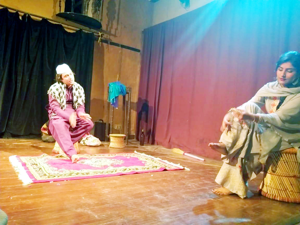 A scene from the play 'Kirayedaar' staged by Robroo Theatre Group in New Delhi.