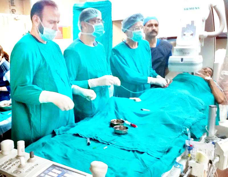 Doctors in SSH Jammu performing complex procedure on a patient on Friday.