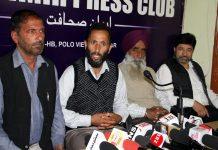 Leaders of Jammu and Kashmir Awami Forum addressing press conference in Srinagar. -Excelsior/Shakeel