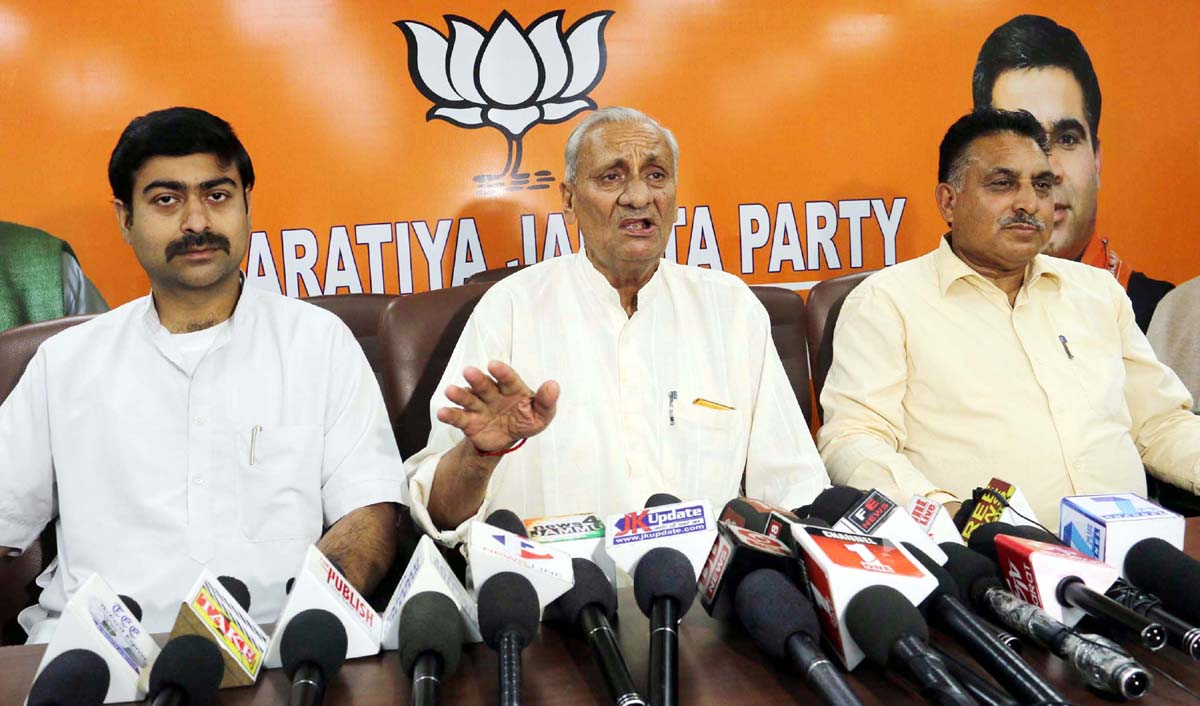 BJP leaders at a press conference at Jammu on Monday.