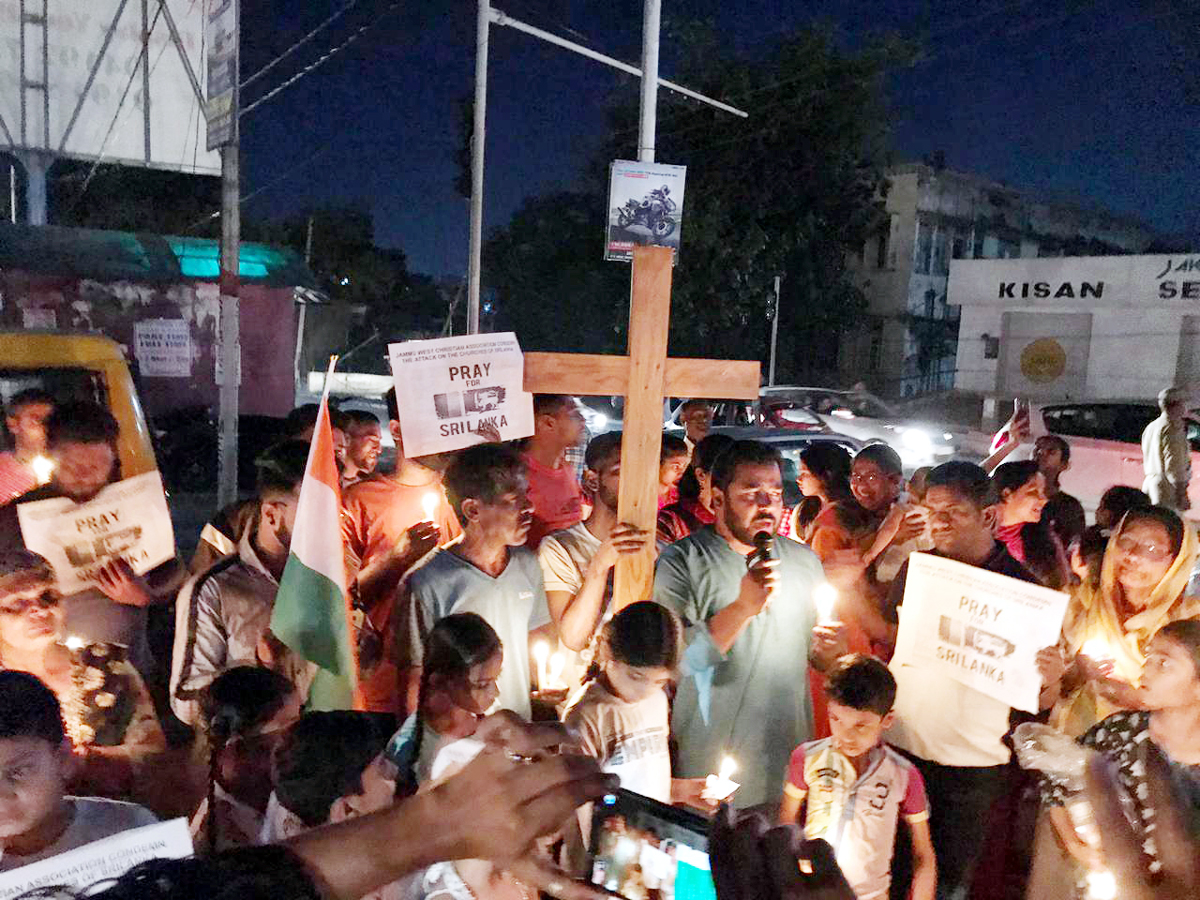 Christians in Jammu during a candle march to pray for Sri Lanka terror attack victims.