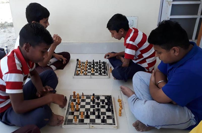 Players in action during inter-school chess meet at Samba.