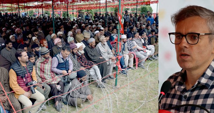 NC leader Omar Abdullah addressing party workers at Shopian on Tuesday. -Excelsior/Younis Khaliq