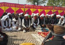 A gathering of tribal Gujjars and Bakerwals during a function to celebrate 28 years of being listed as ST category.