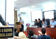 Director J&K State Judicial Academy speaking at cancer awareness programme.