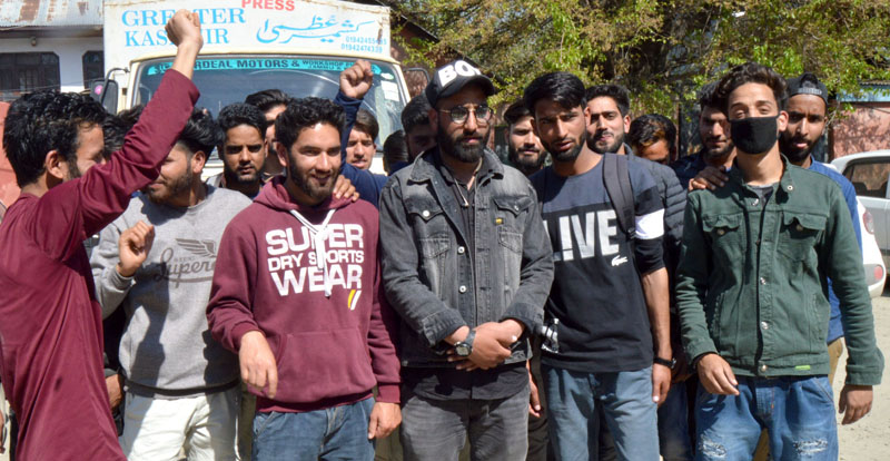 A group of students from Bijbehara protesting in Srinagar on Friday. -Excelsior/Shakeel