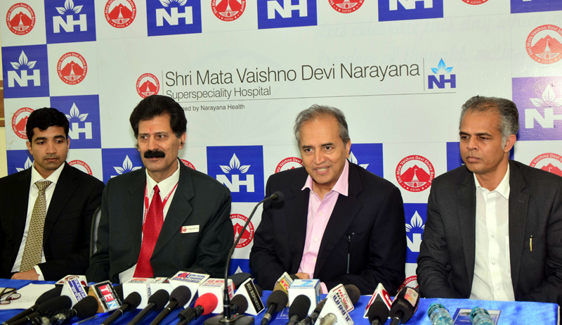 CAO of SMVDN Superspeciality Hospital, Dr (Brig) Man Mohan Harjai, Chairman of Narayana Health, Dr Devi Shetty and others during a media briefing on 3rd anniversary of the hospital.