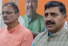 BJP leaders at a press conference at Jammu on Friday. -Excelsior/Rakesh