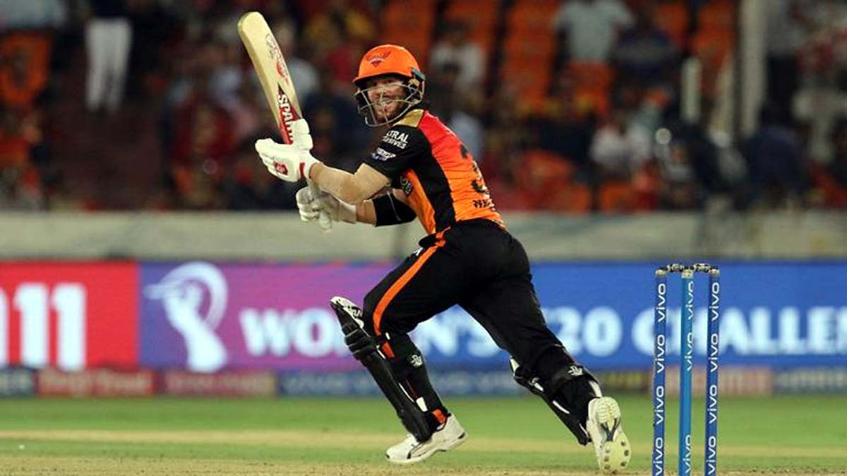 David Warner executing a shot during his knock of 81 runs against Kings XI Punjab at Hyderabad on Monday.