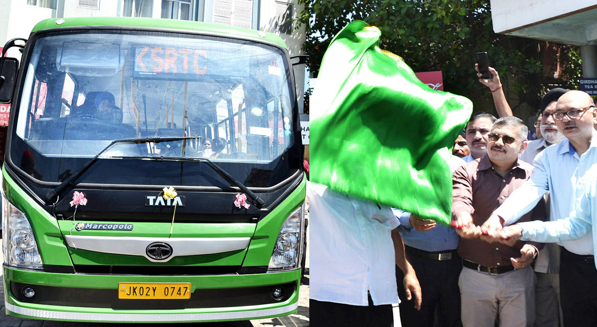 Advisor K. Skandan flagging off Electric Bus Service at Jammu on Monday.
