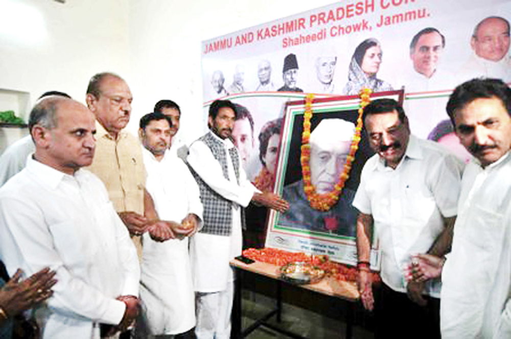 PCC chief GA Mir and other Cong leaders paying tributes to Pt. J L Nehru at a function in Jammu on Monday.