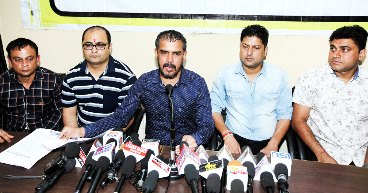 Leaders of General Line Teachers Forum addressing a press conference at Jammu on Monday.