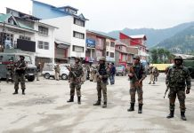 Army deployed in Bhaderwah town on Friday. -Excelsior/Tilak Raj