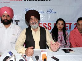 Vice-Chancellor of Chandigarh University addressing a press conference at Jammu on Wednesday. — Excelsior/Rakesh
