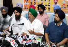 Chairman, SGPB T S Wazir addressing press conference in Jammu on Wednesday. — Excelsior/ Rakesh