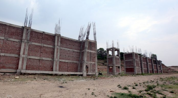 Work abandoned on Jamboo Zoo project near Jagti on Jammu-Srinagar National Highway. -Excelsior/Rakesh