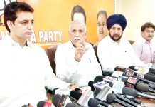 BJP MP Shamsher Singh Manhas addressing a press conference in the presence of other senior party leaders at Jammu. -Excelsior/Rakesh