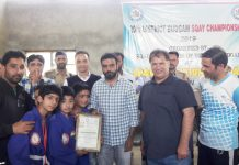 Winners being felicitated by the chief guest during the concluding ceremony of District Sqay Championship in Budgam.