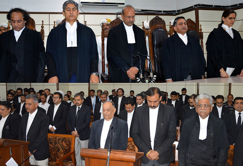 HC Judges, Bar members and other advocates during condolence meeting.