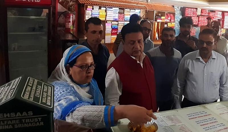 Commissioner Food Safety Vinod Sharma inspecting food establishments in Srinagar on Thursday.